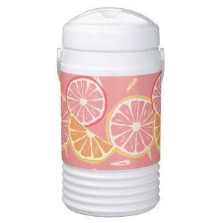 Fun Tropical Pink grapefruit and lemon pattern Drinks Cooler