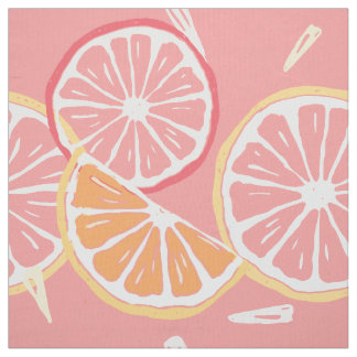 Fun Tropical Pink grapefruit and lemon pattern Fabric