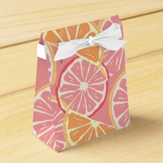 Fun Tropical Pink grapefruit and lemon pattern Favor Box
