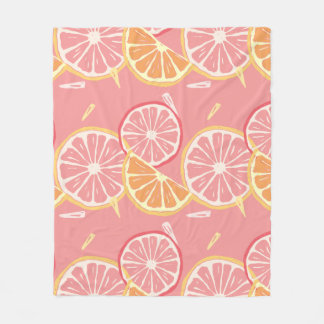 Fun Tropical Pink grapefruit and lemon pattern Fleece Blanket