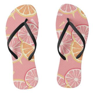 Fun Tropical Pink grapefruit and lemon pattern Flip Flops