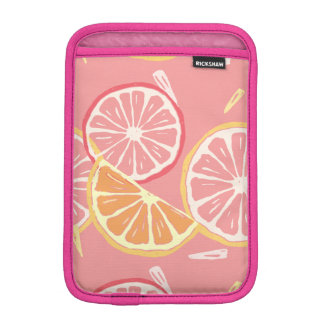 Fun Tropical Pink grapefruit and lemon pattern iPad Mini Sleeve