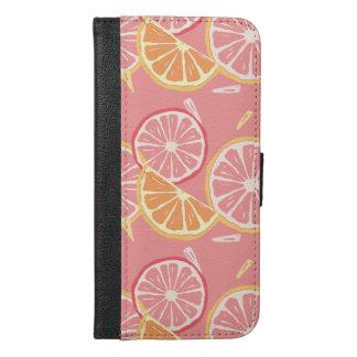 Fun Tropical Pink grapefruit and lemon pattern iPhone 6/6s Plus Wallet Case