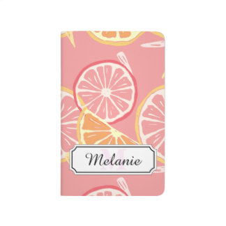 Fun Tropical Pink grapefruit and lemon pattern Journal