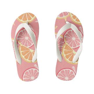Fun Tropical Pink grapefruit and lemon pattern Kid's Flip Flops