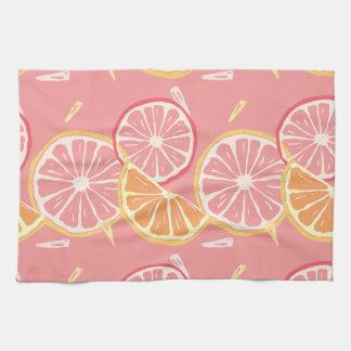 Fun Tropical Pink grapefruit and lemon pattern Kitchen Towel