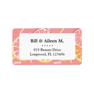 Fun Tropical Pink grapefruit and lemon pattern Label