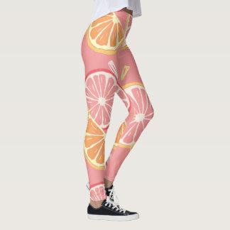 Fun Tropical Pink grapefruit and lemon pattern Leggings