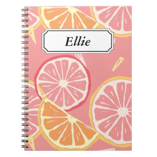 Fun Tropical Pink grapefruit and lemon pattern Notebooks