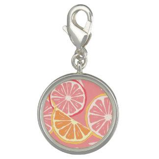 Fun Tropical Pink grapefruit and lemon pattern Photo Charm