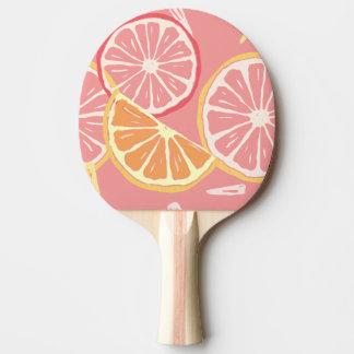 Fun Tropical Pink grapefruit and lemon pattern Ping Pong Paddle