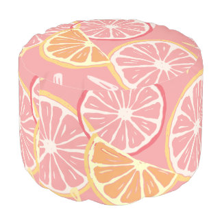 Fun Tropical Pink grapefruit and lemon pattern Pouf