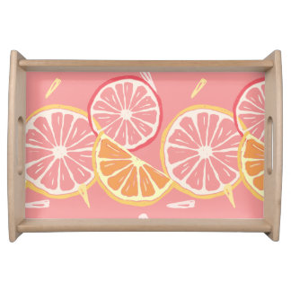 Fun Tropical Pink grapefruit and lemon pattern Serving Tray