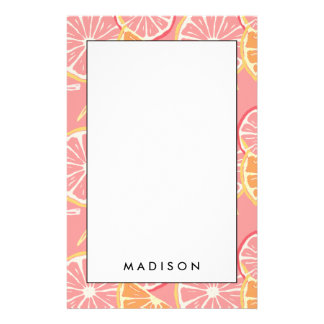 Fun Tropical Pink grapefruit and lemon pattern Stationery