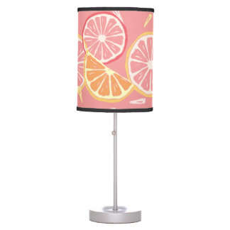 Fun Tropical Pink grapefruit and lemon pattern Table Lamp