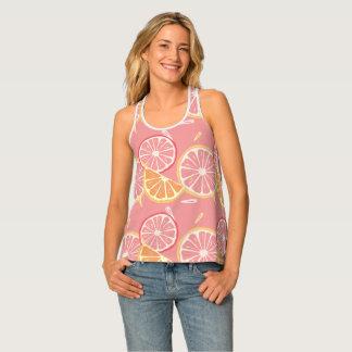 Fun Tropical Pink grapefruit and lemon pattern Tank Top