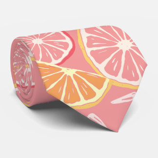 Fun Tropical Pink grapefruit and lemon pattern Tie