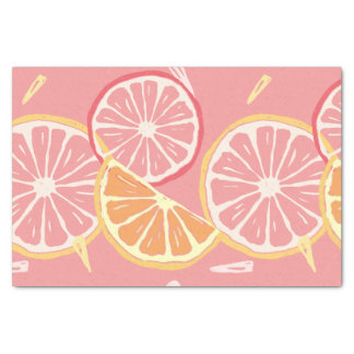 Fun Tropical Pink grapefruit and lemon pattern Tissue Paper