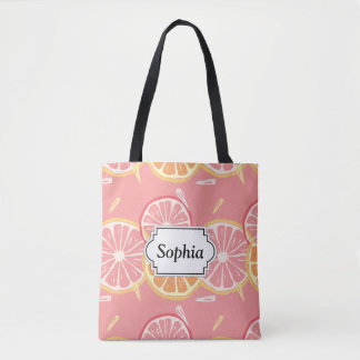 Fun Tropical Pink grapefruit and lemon pattern Tote Bag