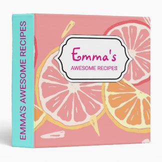 Fun Tropical Pink grapefruit and lemon pattern Vinyl Binder