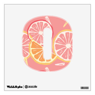 Fun Tropical Pink grapefruit and lemon pattern Wall Decal