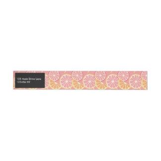 Fun Tropical Pink grapefruit and lemon pattern Wraparound Address Label