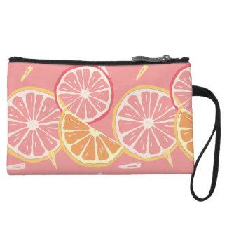 Fun Tropical Pink grapefruit and lemon pattern Wristlet