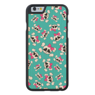 Fun turquoise skulls and bows carved® maple iPhone 6 slim case