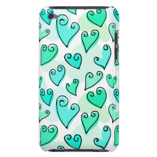 Fun Turquoise Valentine's hearts iPod Touch Case