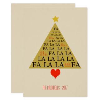 Fun Typography Gold Christmas Tree Card
