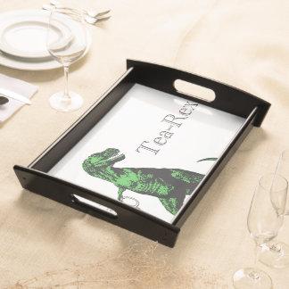 Fun Tyrannosaurus Rex drinking tea: A Tea-Rex… Serving Tray