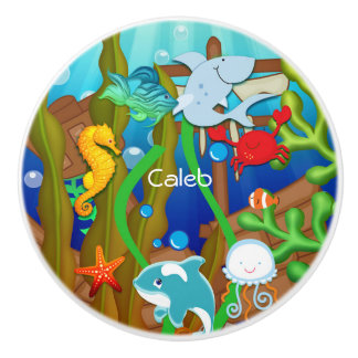 Fun under the sea Fish Children's Kids Bedroom Ceramic Knob