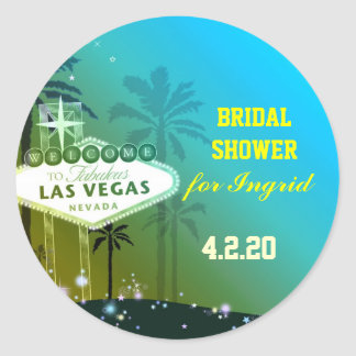 Fun Unique Las Vegas Bridal Shower Classic Round Sticker