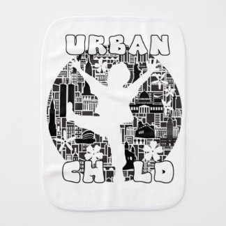 FUN URBAN CHILD CITYSCAPE ILLUSTRATION BURP CLOTH