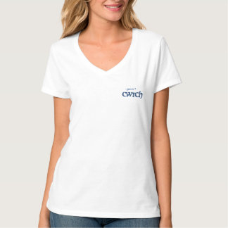 Fun V-neck T-shirt, Polka Dot Welsh Cwtch Slogan T-Shirt