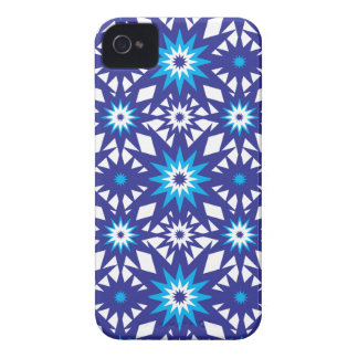 Fun Vibrant Blue Teal Star Starburst Pattern iPhone 4 Case-Mate Cases