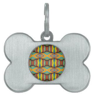 Fun Vibrant Color Dimensional Kaleidoscope Design Pet ID Tag