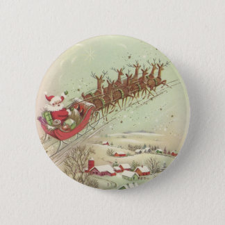 Fun Vintage Christmas Santa Button