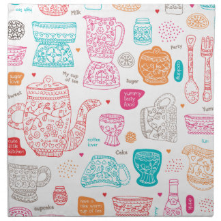 Fun vintage cooking design kitchen tea art pattern cloth napkins