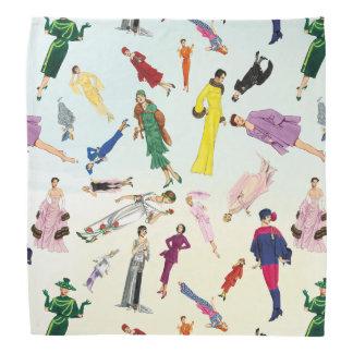 Fun Vintage Dresses Fashion Illustration Pattern Bandana