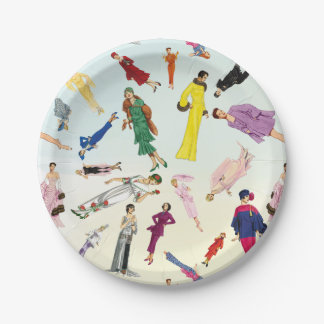 Fun Vintage Dresses Fashion Illustration Pattern Paper Plate