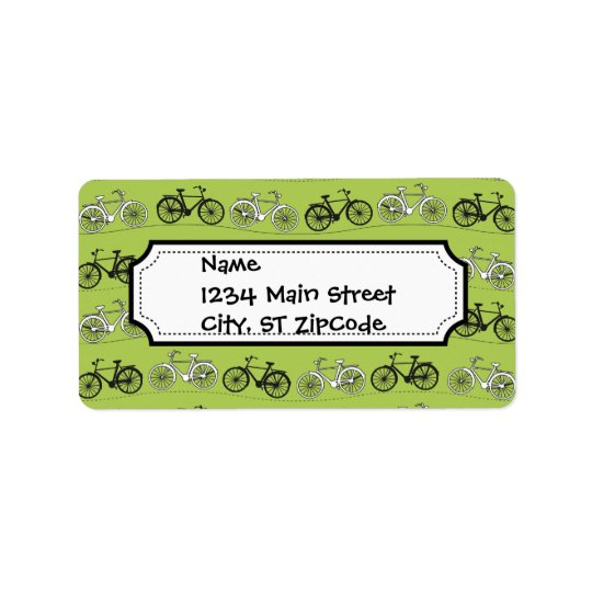 Fun Vintage Green Bicycles Pattern Print
