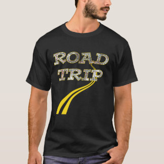 Fun Vintage Highway Map Yellow Lines Road Trip T-Shirt
