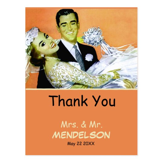 Fun vintage personalized wedding postcard