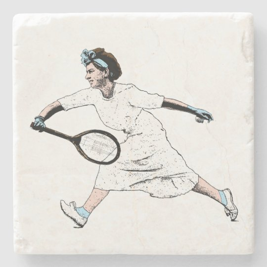 Fun Vintage Photo Illustration of Tennis Player Stone Beverage Coaster