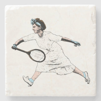 Fun Vintage Photo Illustration of Tennis Player Stone Coaster