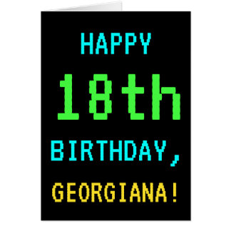 Fun Vintage/Retro Video Game Look 18th Birthday Card