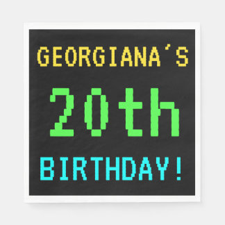 Fun Vintage/Retro Video Game Look 20th Birthday Napkin
