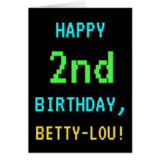 Fun Vintage/Retro Video Game Look 2nd Birthday Card
