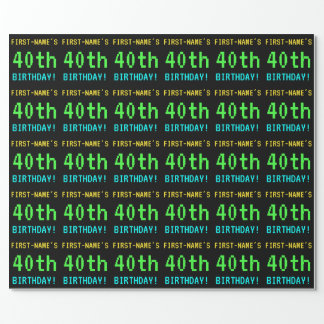 Fun Vintage/Retro Video Game Look 40th Birthday Wrapping Paper